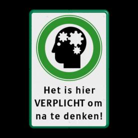 Verkeersbord groen/wit/zwart - Nadenken