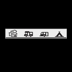 Verwijsbord 1000x200x18mm toeristisch  + 4 pictogrammen