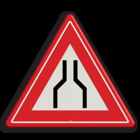 Verkeersbord RVV J17 - Vooraanduiding rijbaanversmalling aan 2 zijden