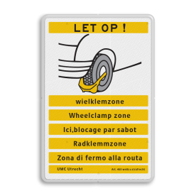 Verkeersbord OV0412b LET OP! Wielklem - diverse talen