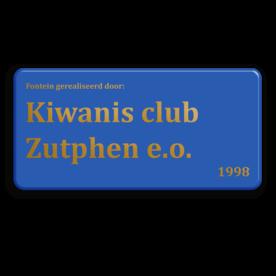 Logobord 2:1 blauw RECHTHOEK + goudkleurige opdruk