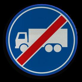 Verkeersbord RVV F22 - Einde rijbaan of -strook vrachtverkeer