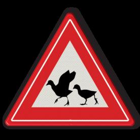 Informatiebord - waarschuwing  overstekende watervogels