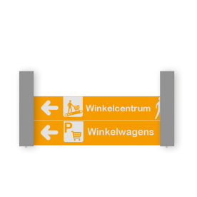 Verwijsbord VOETGANGERS RAL7040 2x 800x150 + reflex   Route   Montagestukken 80x80mm