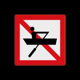 Scheepvaartbord BPR A.16 - Verboden voor door spierkracht voortbewogen schepen