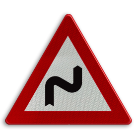 Verkeersbord België A1d - Dubbele bocht rechts