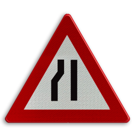 Verkeersbord België A7c - Rijbaanversmalling links