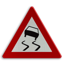 Verkeersbord België A15 - Glibberige rijbaan (slipgevaar)