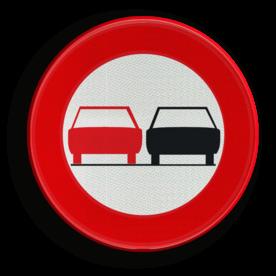 Verkeersbord België C35 - Verbod een voertuig links in te halen