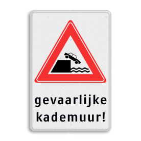 Verkeersbord RVV J26 - Vooraanduiding kade of rivieroever + tekstvlak