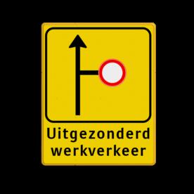 Verkeersbord WIU geel/zwart W017L/R - ondertekst