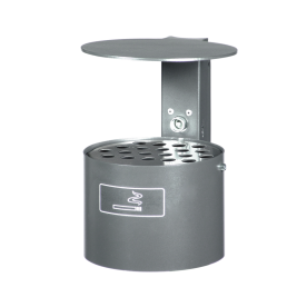 Asbak 4 liter Ø200mm - vlakke wand of paalmontage + regenkap