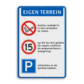 Verkeersbord 400x600mm  Roken verboden - RVV A01-E04 + tekstregels