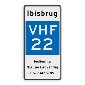 Scheepvaartbord BPR E.23 + tekst - Marifoonkanaal voor nautische informatie + tekst