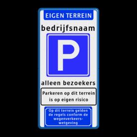 Parkeerbord Banner + tekst + E04 + tekst + 2x picto