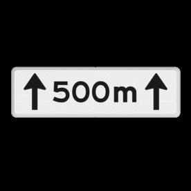 Verkeersbord RVV OB411-500 - Onderbord - Afstands-aanduiding over een lengte van.. M