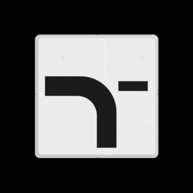 Verkeersbord RVV OB712 - Verloop voorrangsweg voor T splitsing