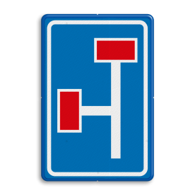 Verkeersbord RVV L09-3l - Doodlopende weg - voorwaarschuwing