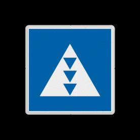 Scheepvaartbord BPR E. 5. 7 - Ligplaatsen voor duwvaart met drie kegels