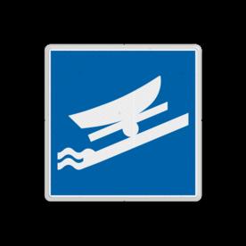 Scheepvaartbord BPR E.22 - Te water laten of uit het water halen toegestaan