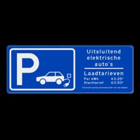 Verkeersbord parkeren elektrische voertuigen + tarieven - BE04h