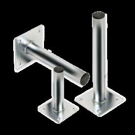 Rechte muur-, grond- of plafondbeugel Ø48mm - Aluminium