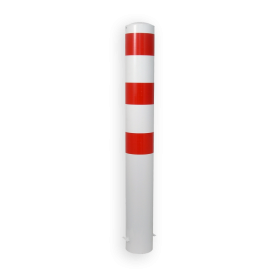 Rampaal Ø193x1200mm met grondmontage, verzinkt of wit/rood