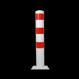 Rampaal Ø152x1000mm met vaste voetplaat - wit/rood of verzinkt