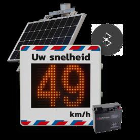 Snelheidsdisplay LED met zonnepaneel + front reflecterend in huisstijl