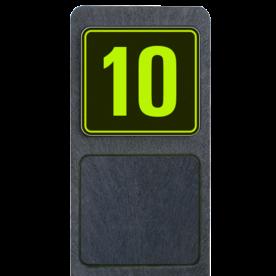 Huisnummerpaal met bord fluorescerend + reflecterend 119x109mm