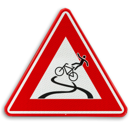 Verkeersbord - slipgevaar fietsers