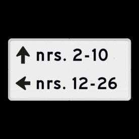 Verwijzing huisnummers - routebord - 2 richtingen