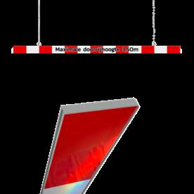 Hoogtebegrenzer dubbelzijdig 200mm aluminium kokerprofiel + eigen tekst