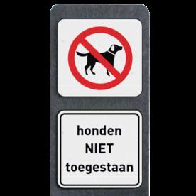Verzwaarde bermpaal met bordjes honden niet toegestaan