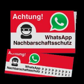 WhatsApp - Achtung Nachbarschaftsschutz Aufkleber (10 Stück) - Rot