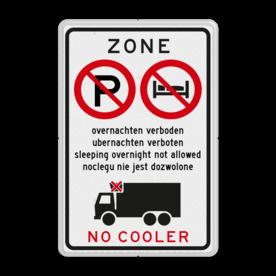 Informatiebord - Overnachten en/of gebruik cooler verboden