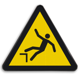 Pictogram W008 - Gevaar voor vallen door hoogteverschil