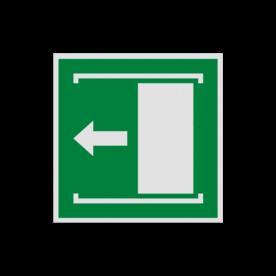Pictogram E034 - Deur naar links schuiven om te openen