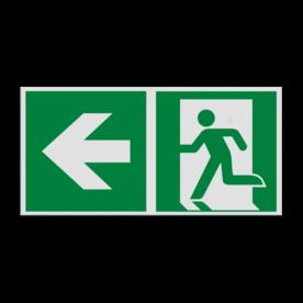 Pictogram E001 - Nooduitgang links met pijl
