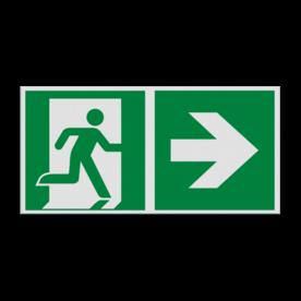 Haaks bord E002 - Nooduitgang rechts met pijl