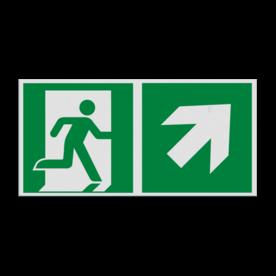 Haaks bord E002 - Nooduitgang rechts naar boven met pijl