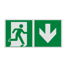 Haaks bord E002 - Nooduitgang naar beneden met pijl