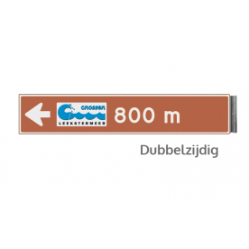 Bewegwijzeringsbord - DUBBELZIJDIG - 800x150x15mm bruin/wit logo en pijl
