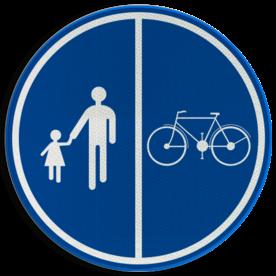 Verkeersbord België D9b - Deel van de weg voorbehouden voor voetgangers en fietsen