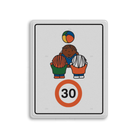 Dick Bruna - Attentiebord Snelheid - spelende kinderen - Multicultureel