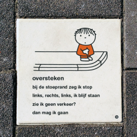 Dick Bruna Stoeptegel - oversteken - 300x300mm