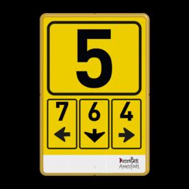 Routebord naar parkeerterrein of poort/ingang + logo