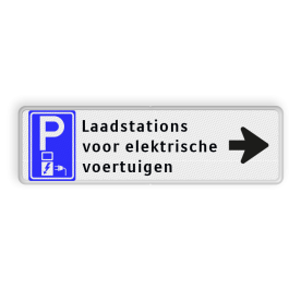 Routebord met pijl - elektrisch parkeren + eigen tekst