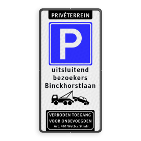 Parkeerbord Privéterrein E04 met tekst en wegsleepregeling
