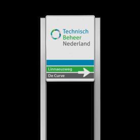 Bedrijfsnaambord 3:4 reflecterend met luxe staanders - Met logo